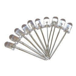 LED 5mm niebieska CLEAR 5000-9500MCD x 10szt