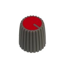 Gałka pot. szara śred:15mm GS15 czerwona