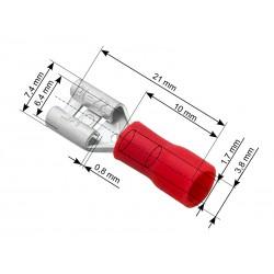 Konektor izolowany płaski żeński 6,4/0,8 czerwony x10szt