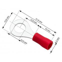 Konektor oczkowy izolowany śruba M10 FI10 x10szt