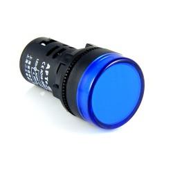 Kontrolka LED 28mm 12V AC/DC niebieska